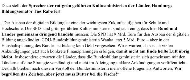 Presseerklärung von Ties Rabe (SPD) als Sprecher der rot-grünen Kultusminister
