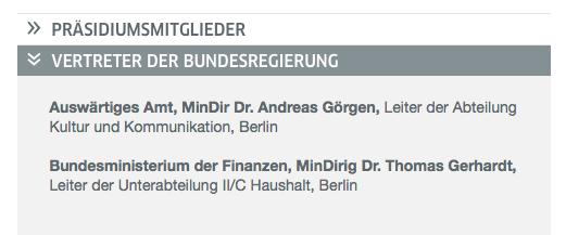 Goethe-Präsidiumsmitglieder im Namen der Bundesregierung