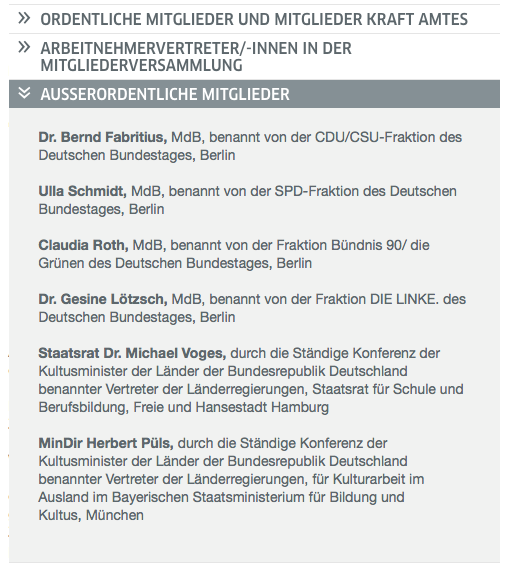 Außerordentliche Mitglieder der Versammlung des Goethe-Institutes