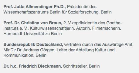 Mitglieder der Versammlung des Goethe-Instituts